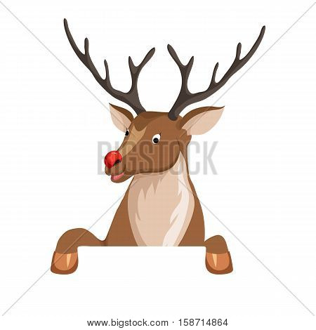 Reindeer peeking from behind the paper. Christmas vector illustration. Peeking deer with red nose. Cartoon reindeer peek full face or profile. Xmas holiday icons