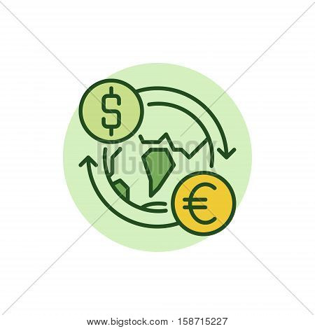 Dollar to Euro convert flat icon. Vector currency exchange worldwide concept colorful sign