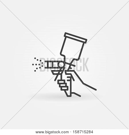 Spray gun line icon. Vector airbrush in hand symbol in thin line style. Minimal car paint concept sign