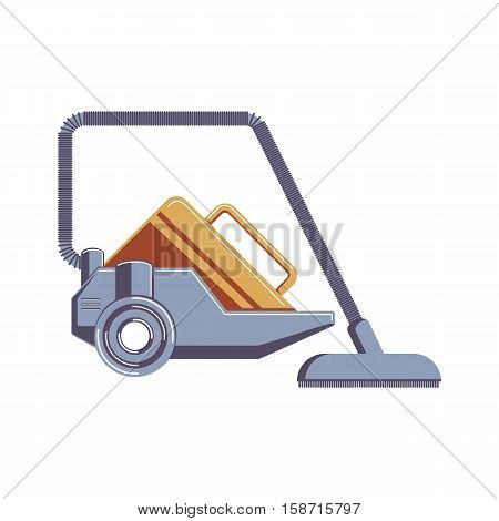 Isolated vacuum cleaner on whirte background. Device for dust and dirt cleaning.