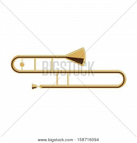 Isolated trombone on white background. Musical instrument. Element of orchestra.