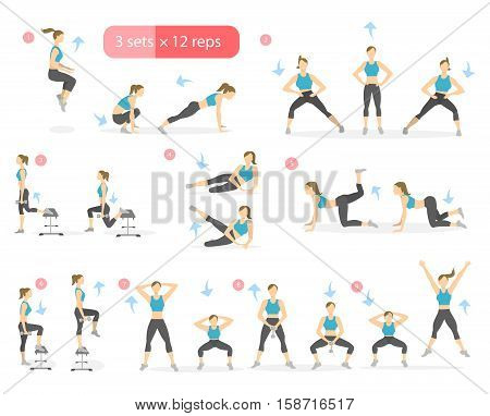 Workout girl set. Woman doing fitness and yoga exercises. Lunges and squats. Leg workout.