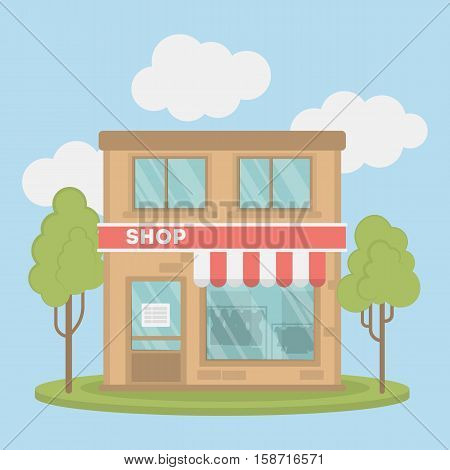 Isolated clothing store. Storefront with sign of sales, and credit card. Concept of shopping.