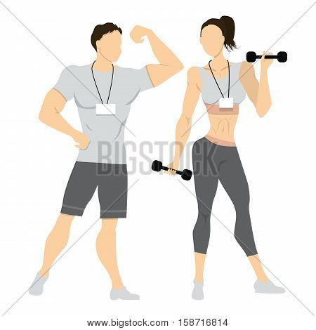 Isolated professional trainers. Male and female coaches standing on white background in sport uniform with halters.
