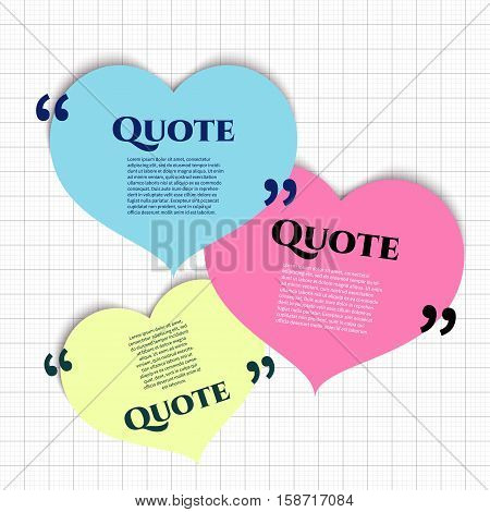 Vector quote boxes with text isolated. Quote commas message quote blank template. Quote bubble Quote form