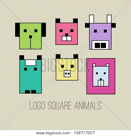 Set of vector icons of animals. Geometric collection of logos dogs cats horses cows pigs lion. Isolated head