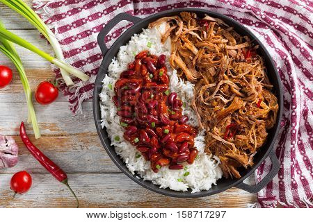 Pulled  Pork With Long-grain Basmati Rice And Red Bean