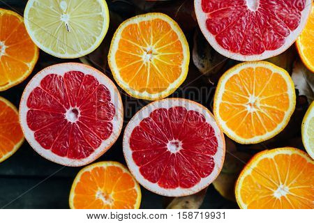 Fresh Fruits. Mixed Fruits Background. Healthy Eating, Dieting. Background Of Healthy Fresh Fruits.