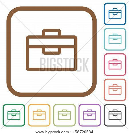 Toolbox simple icons in color rounded square frames on white background