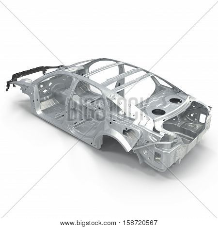 Sedan without cover on white background. Angle from up. 3D illustration