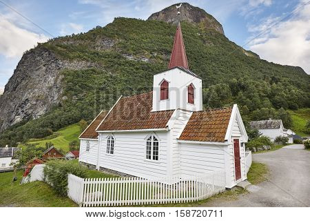 Traditional antique norwegian stone church. Undredal. Travel Norway. Heritage