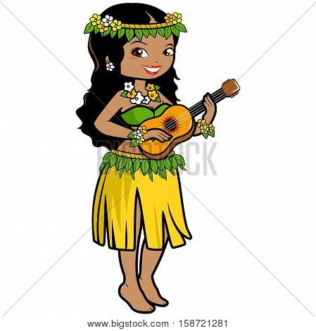 Vector illustration of a Hawaiian woman playing music with her guitar in a grass skirt and exotic flowers.