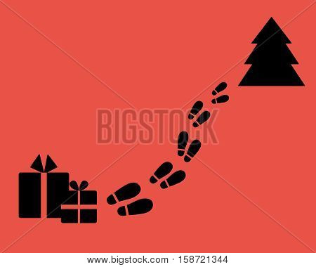 Christmas tree with footstep and surprise. Find a gift. Flat style.