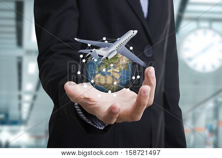 business travel insurance and Insurance agent with protective gesture and icon of plane and globe. concept banner
