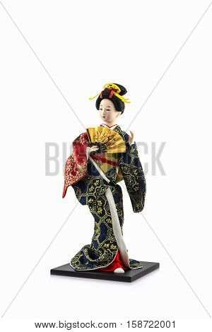 Japanese geisha dolls on the white background.