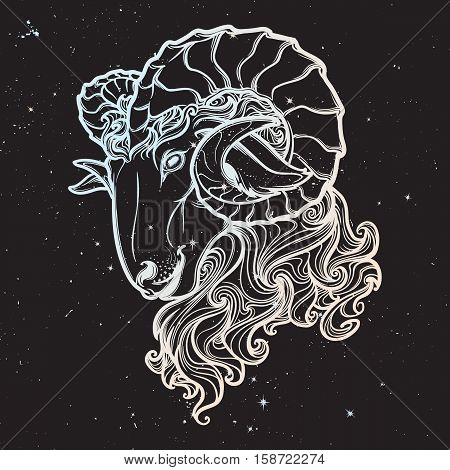 Zodiac sign of Aries with a decorative frame of roses Astrology concept art. Tattoo design. Sketch in pastel pallette isolated on starry nightsky background. EPS10 vector illustration.