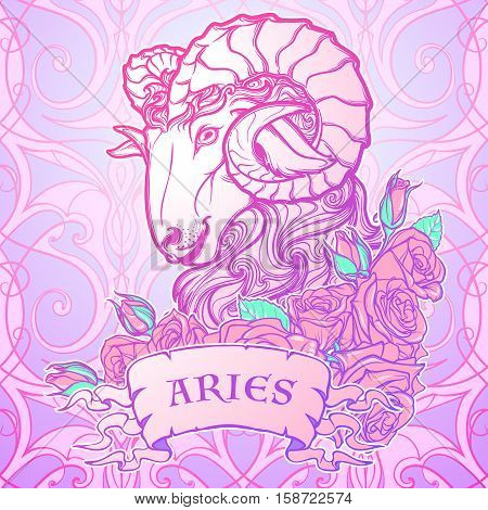 Zodiac sign of Taurus. with a decorative frame of roses Astrology concept art. Tattoo design. Sketch in pastel pallette isolated on white background. EPS10 vector illustration.