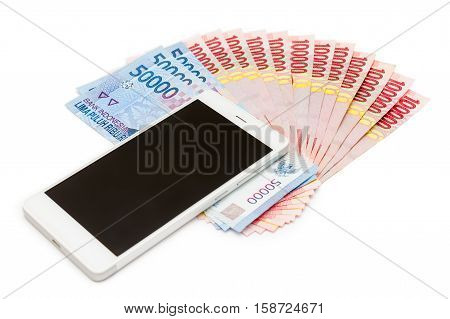 Smartphone And Money Of Indonesian Rupiah