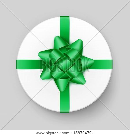 Vector White Round Gift Box with Shiny Green Emerald Bow and Ribbon Top View Close up Isolated on Background