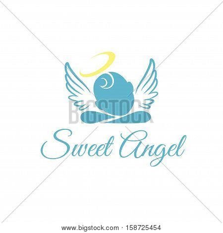 Sweet Angel Baby with Halo & Wings with Text Vector Illustration poster