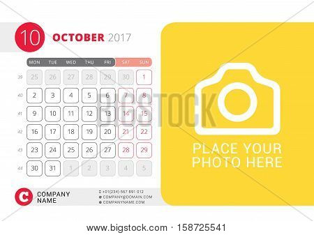 Desk Calendar For 2017 Year. October. Vector Design Print Template With Place For Photo. Week Starts