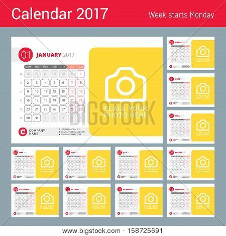 Desk Calendar For 2017 Year. Vector Design Print Template With Place For Photo. Week Starts On Monda
