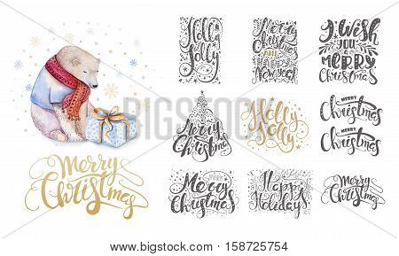 Merry christmas lettering over with snowflakes and bear. Hand drawn text calligraphy for your design. xmas bear design overlay elements isolated on white background.
