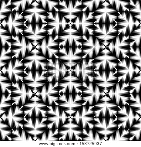 Seamless 3d Cross Pattern. Abstract Black and White Stripe Background. Vector Geometric Regular Texture. Abstract Ancient Crusader Ornament. Decorative Wrapping Paper Design