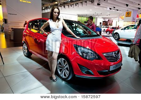 Moscow, Russia - August 25:  Red Car Opel Meriva At Moscow International Exhibition Interauto On Aug