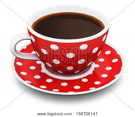 3D render illustration of red porcelain cup or china mug with color polka dot ornament with hot fresh black americano espresso or arabica coffee isolated on white background