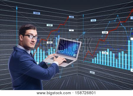 Businessman trader in stock exchange concept