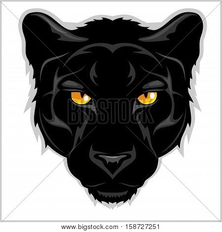 Black Panther head - isolated on white background.
