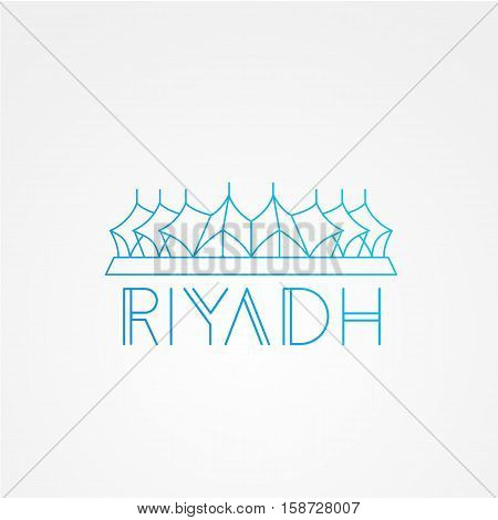 King Fahd - The symbol of Riyadh, Saudi Arabia. Modern linear minimalist icon. One line sightseeing concept. Front view. Vector illustration