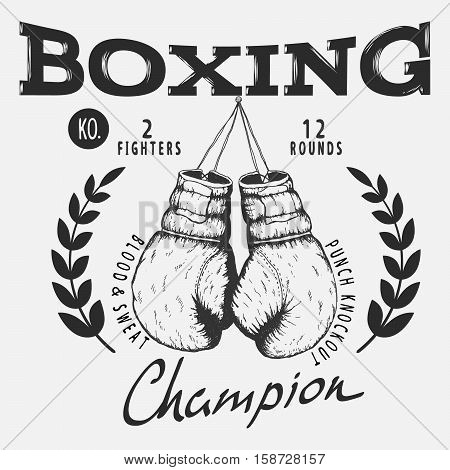 Old boxing gloves.Boxing champion.Vintage style.Prints design for t-shirts