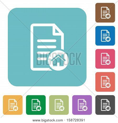 Default document flat icons on simple color square background.