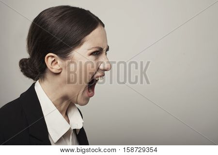 Business Young Angry Woman Screaming Studio Shot