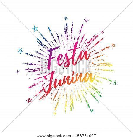 Festa Junina Colorful Gradient Summer Calligraphic Poster, Illustration. Vector Firework Carnaval Ba