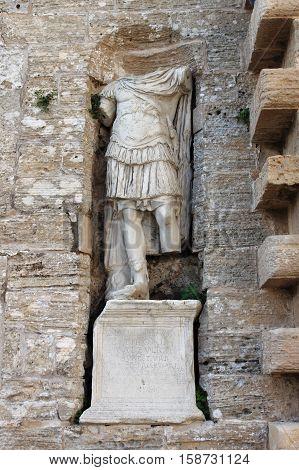 Roman statue at the entrance of Dalt Vila in Ibiza town, Spain