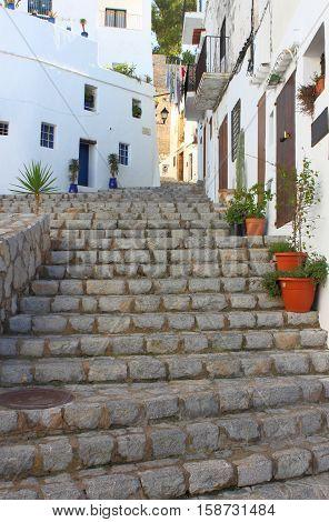 An urban scenic of Ibiza town, Spain