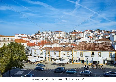 Rooftops Of Typical Buildings In Downtown Of Evora, Alentejo. Portugal.