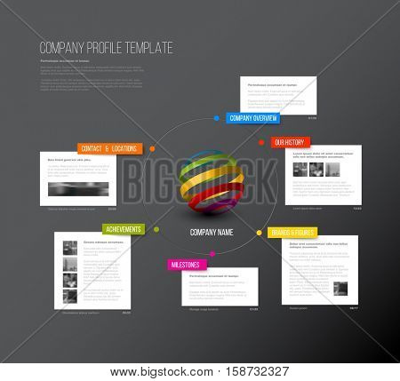 Vector Company infographic overview design template with colorful labels and white blocks - dark version