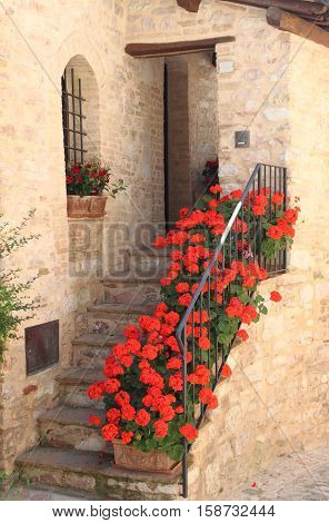 Urban scenic of the ancient city of Spello Umbria Italy