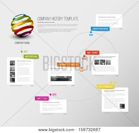Vector Company infographic overview design template with colorful labels and white blocks on a time spiral