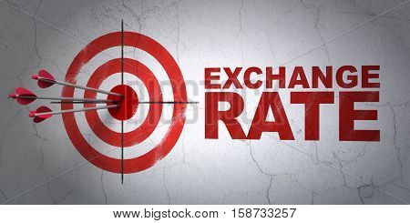 Success money concept: arrows hitting the center of target, Red Exchange Rate on wall background, 3D rendering