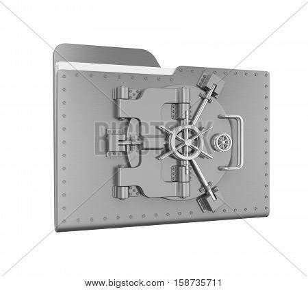 Steel Folder Vault  isolated on white background. 3D render