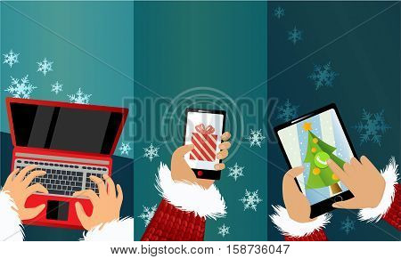 Message from Santa Claus -Three Christmas banners with mobile phone