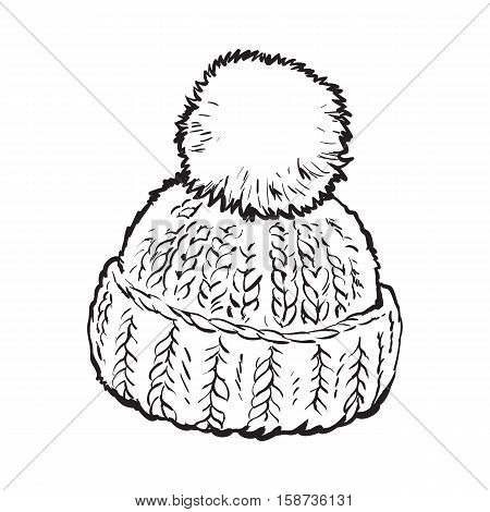 Bright winter knitted hat with pompon, sketch style vector illustrations isolated on white background. Hand drawn woolen hat with a big fluffy pompom, winter accessory