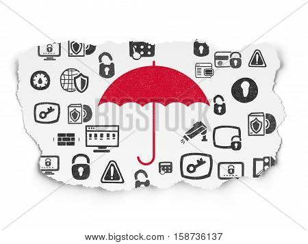 Protection concept: Painted red Umbrella icon on Torn Paper background with  Hand Drawn Security Icons