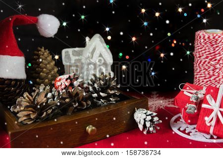 Christmas still life with colorful lights on the background