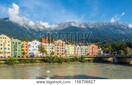 INNSBRUCK,AUSTRIA - SEPTEMBER 4,2016 - View at the Bank of Inn in Innsbruck. Innsbruck is the capital city of Tyrol in western Austria. It is located in the Inn valley.